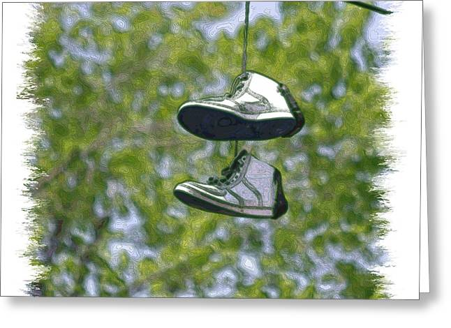 Greeting Card featuring the digital art Shoefiti 23625 by Brian Gryphon