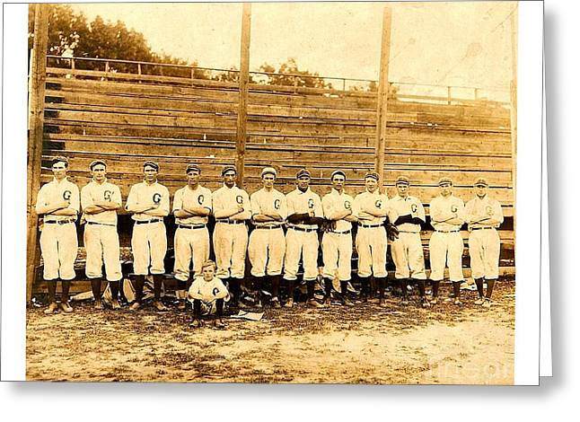 Greeting Card featuring the photograph Shoeless Joe Jackson Age 19 With His Greenville South Carolina Baseball Team 1908 by Peter Gumaer Ogden