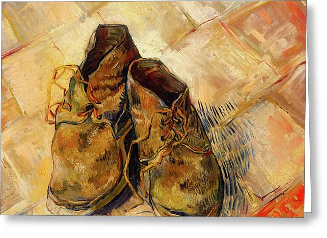 Greeting Card featuring the painting Shoes                                   by Vincent van Gogh