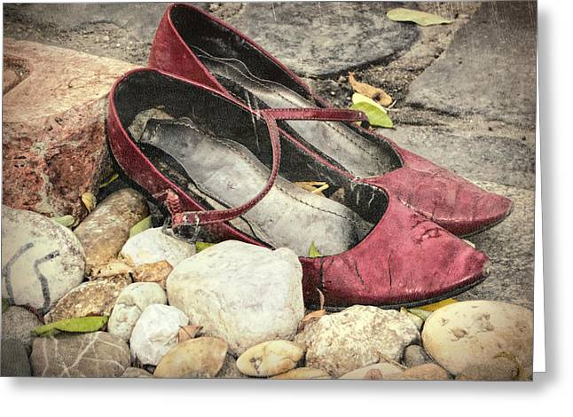 Shoes At The Makeshift Memorial Greeting Card by Joan Carroll
