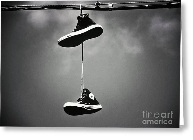 Shoes On A Wire Greeting Card by Christina Stanley