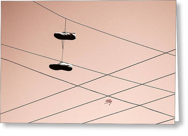 Greeting Card featuring the photograph Shoes On A Wire by Linda Hollis