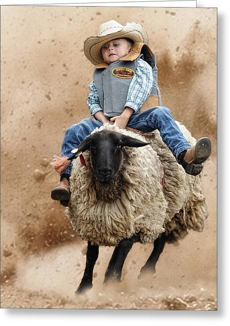Shoot Low Sheriff They're Riding Sheep Greeting Card by Ron  McGinnis
