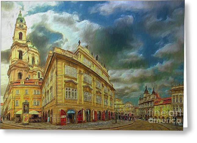 Shooting Round The Corner - Prague Greeting Card