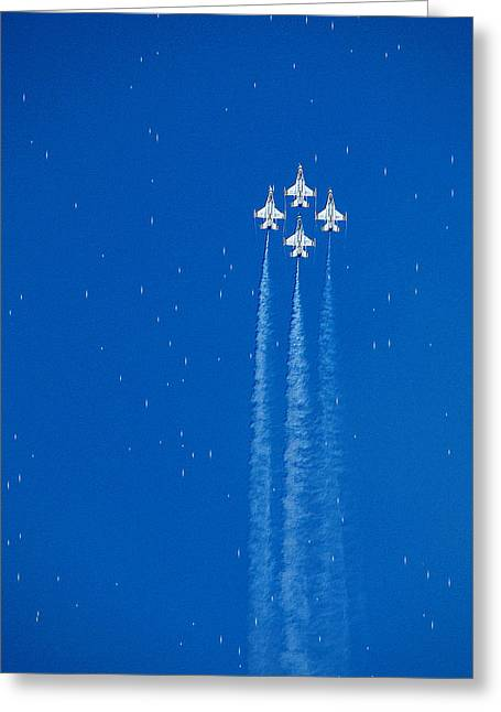 Jet Star Greeting Cards - Shooting Stars Greeting Card by Paul Ge