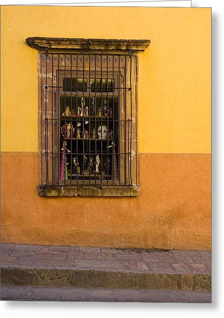 Shop Window San Miguel De Allende Greeting Card by Carol Leigh