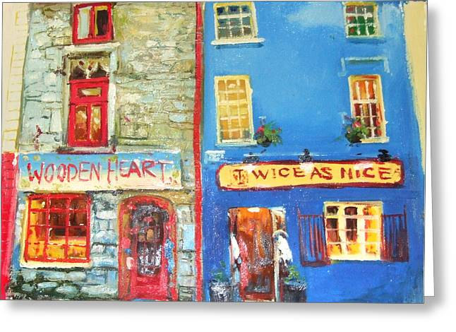 Shopfronts Galway Greeting Card by Conor McGuire