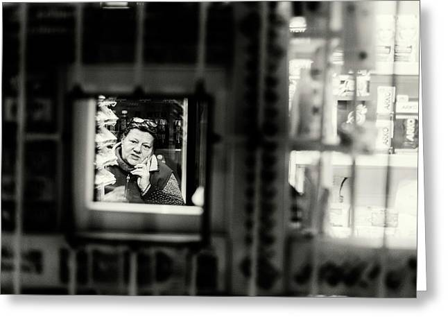 Greeting Card featuring the photograph Shopkeeper At Night by John Williams
