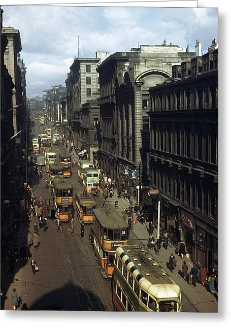 Shoppers And Trams Clog Renfield Street Greeting Card by B. Anthony Stewart