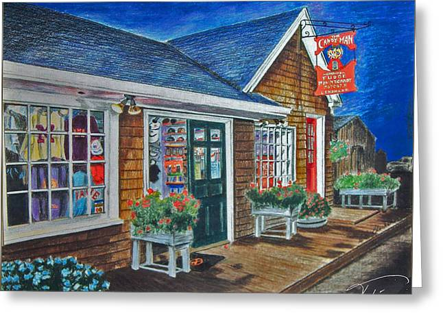 Maine Landscape Drawings Greeting Cards - Shopping at Kennybunkport Greeting Card by Tobi Czumak