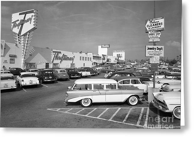 Shopping Center Parking Lot, C.1950s Greeting Card by H. Armstrong Roberts/ClassicStock