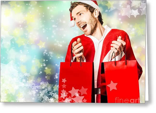 Shopping For Christmas Presents At Store Sales Greeting Card by Jorgo Photography - Wall Art Gallery