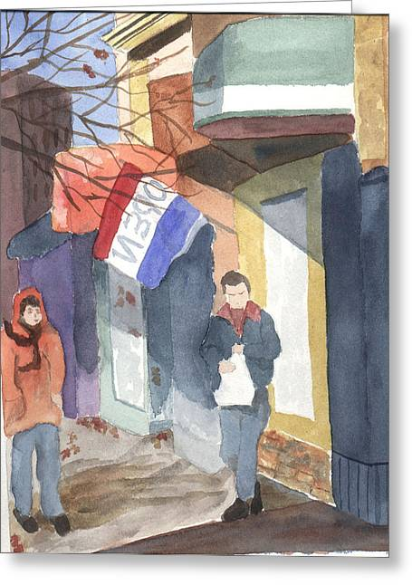 Shopping On Exchange Street Greeting Card by Jane Croteau