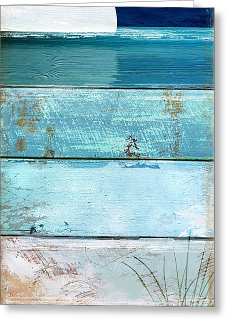 Shore And Moonrise Greeting Card by Mindy Sommers