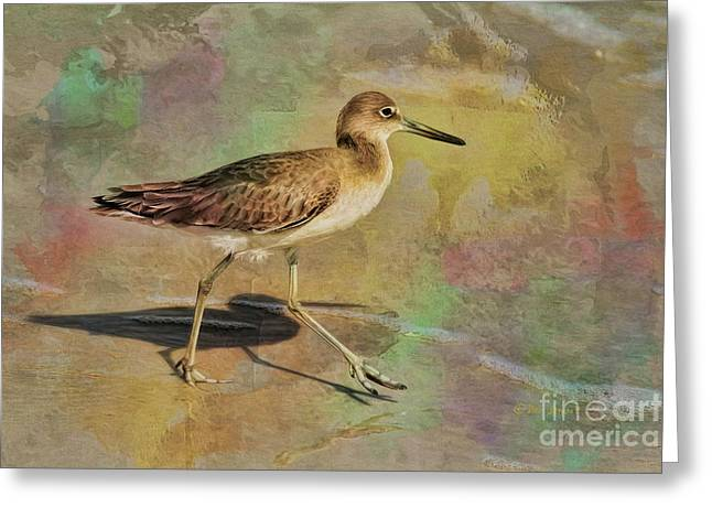 Greeting Card featuring the painting Shore Bird Beauty by Deborah Benoit