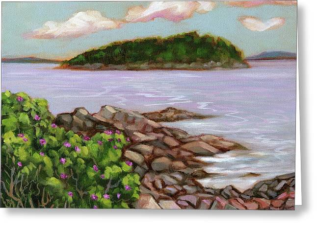 Shore Path Rosebush Greeting Card by Eve  Wheeler