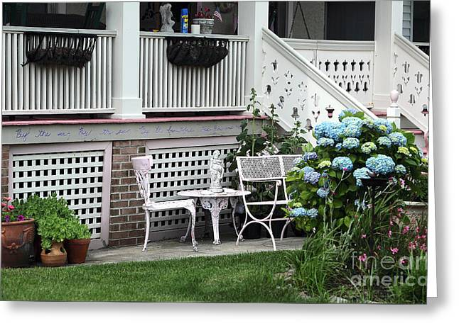 Shore Table And Chairs Greeting Card by John Rizzuto