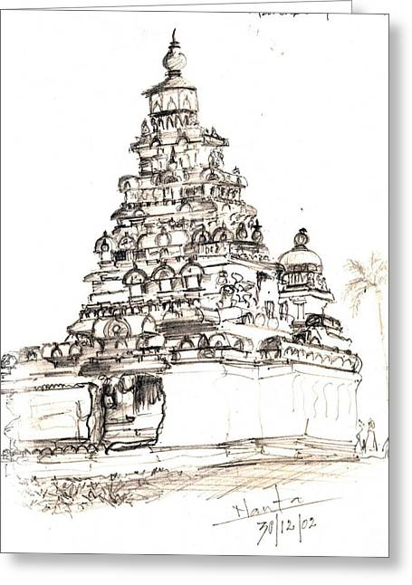 Shore Temple  Greeting Card by KaramChand Nanta