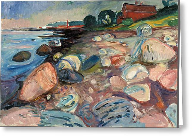Shore With Red House Greeting Card by Edvard Munch