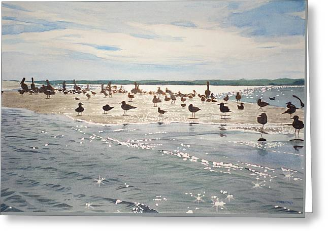 Shorebird Convention Greeting Card by Christopher Reid