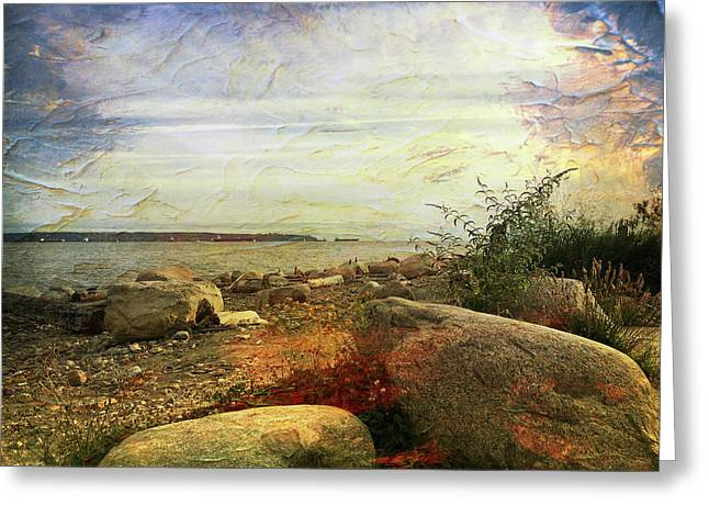 Shoreline At Dusk Greeting Card by Connie Handscomb