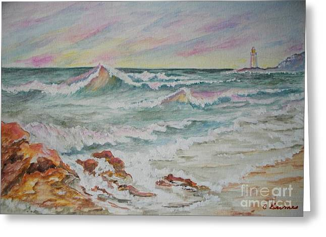Shoreline Breakers Greeting Card by Carol Grimes