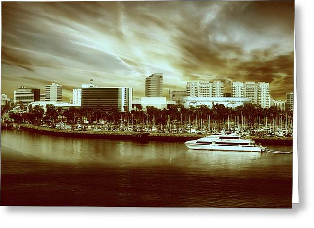 Shoreline Long Beach Ca 09 Sepia Greeting Card