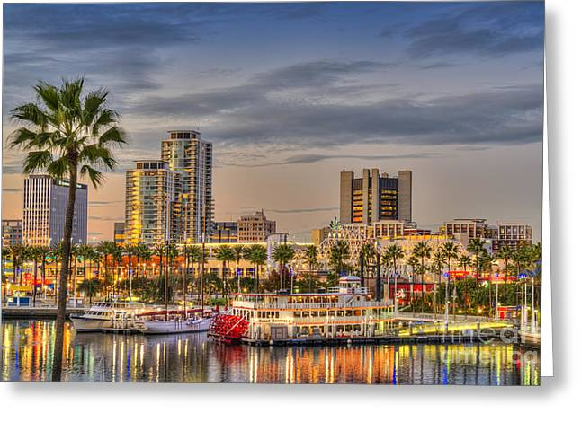 Shoreline Village Rainbow Harbor Marina Greeting Card by David Zanzinger
