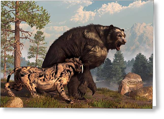 Short-faced Bear And Saber-toothed Cat Greeting Card by Daniel Eskridge