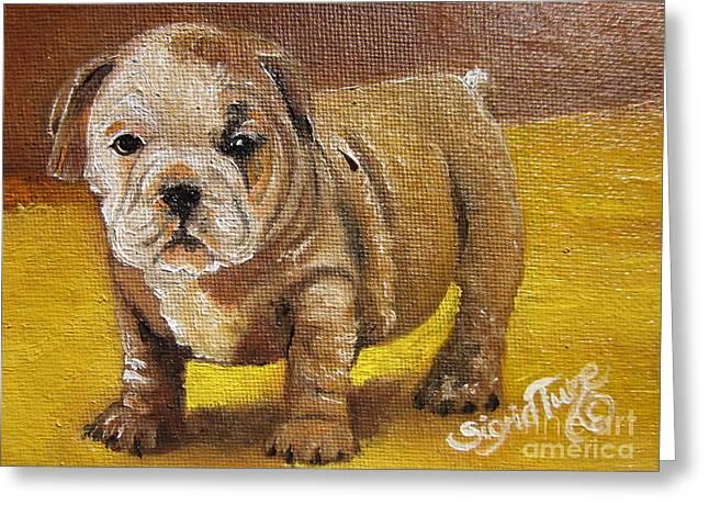 Chloe The   Flying Lamb Productions      Shortstop The English Bulldog Pup Greeting Card