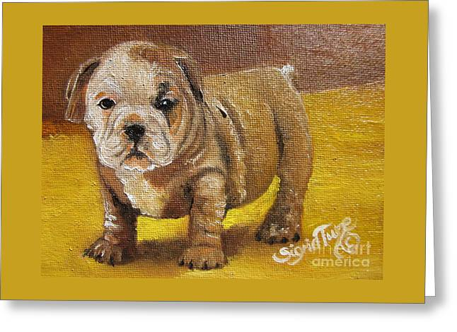 Chloe The   Flying Lamb Productions      Shortstop The English Bulldog Pup Greeting Card
