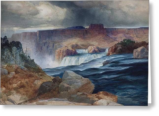 Shoshone Falls Idaho Greeting Card by Thomas Moran