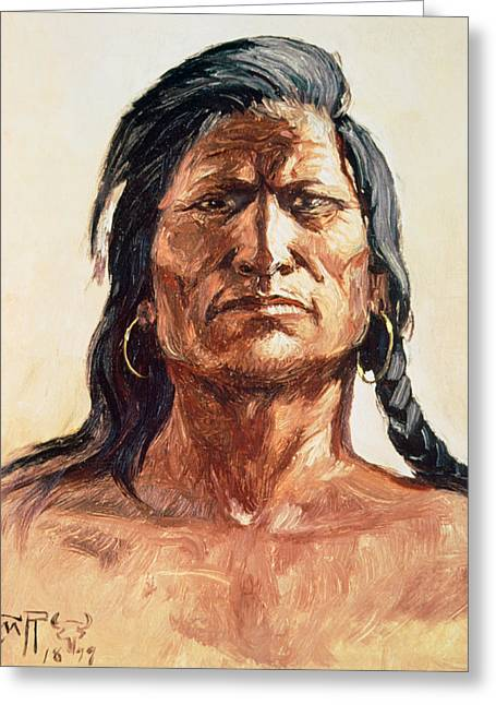 Shoshone Tribesman Greeting Card by Charles Marion Russell