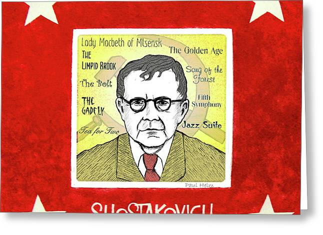 Communist Russia Greeting Cards - Shostakovich Greeting Card by Paul Helm