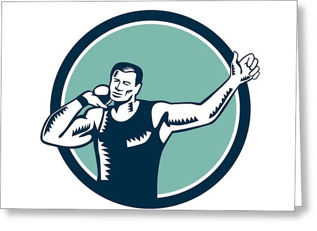 Shot Put Track And Field Athlete Woodcut Greeting Card by Aloysius Patrimonio