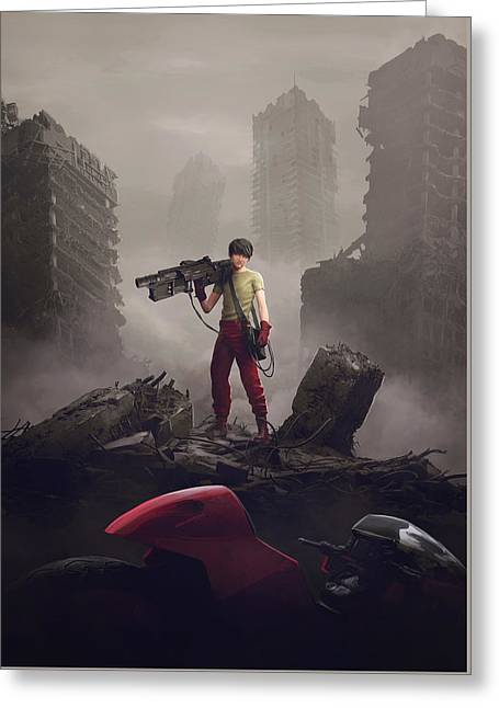 Shotaro Kaneda Greeting Card by Guillem H Pongiluppi