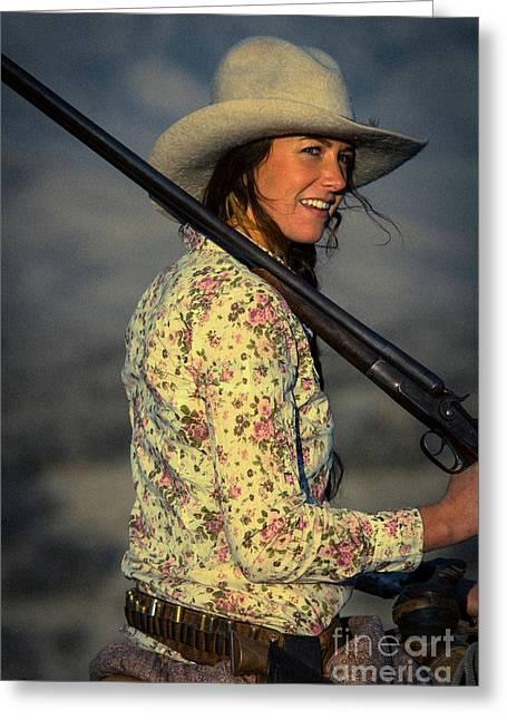 Shotgun Annie Western Art By Kaylyn Franks Greeting Card