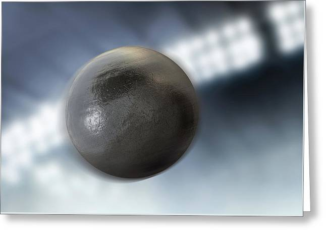 Shotput In Night Stadium Greeting Card by Allan Swart