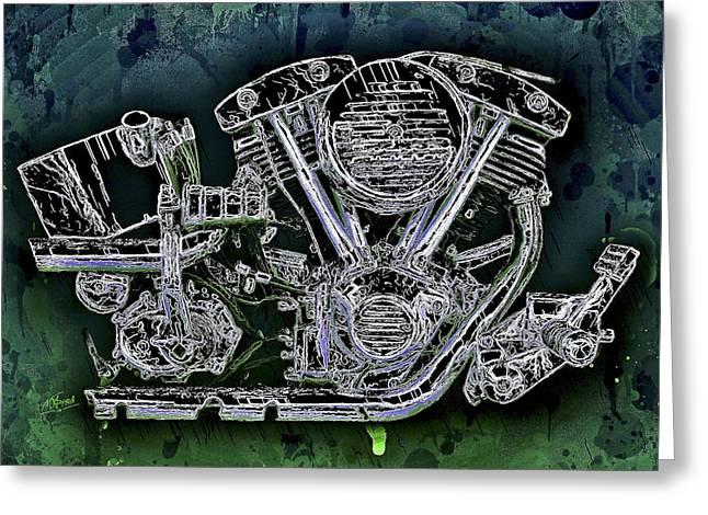 Harley - Davidson Shovelhead Engine Greeting Card