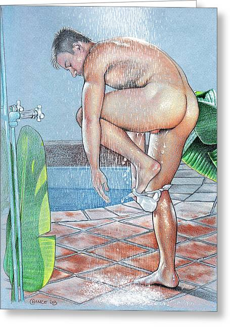 Erotic Male Drawings Greeting Cards - Shower Greeting Card by Chance Manart