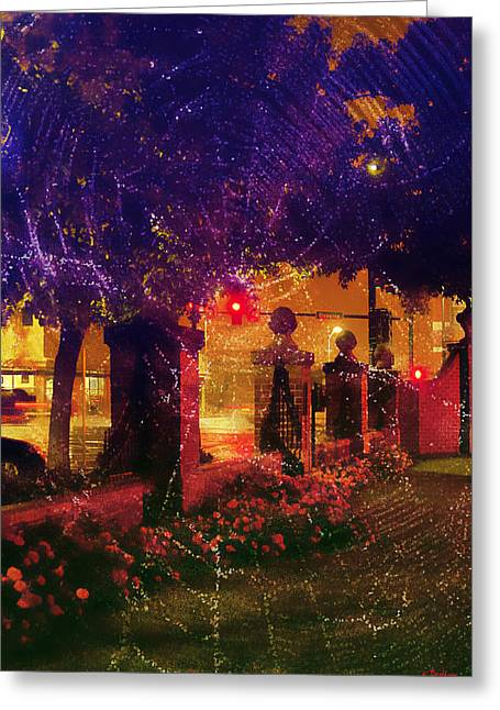 Showery Night On The Corner Greeting Card