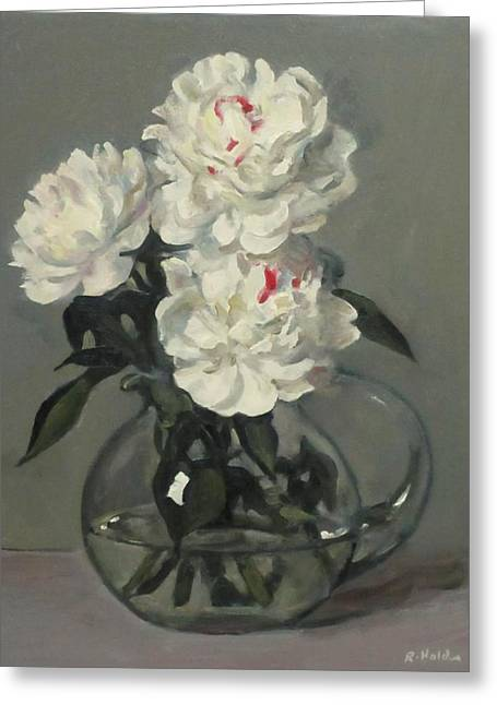 Showy White Peonies In Glass Pitcher Greeting Card