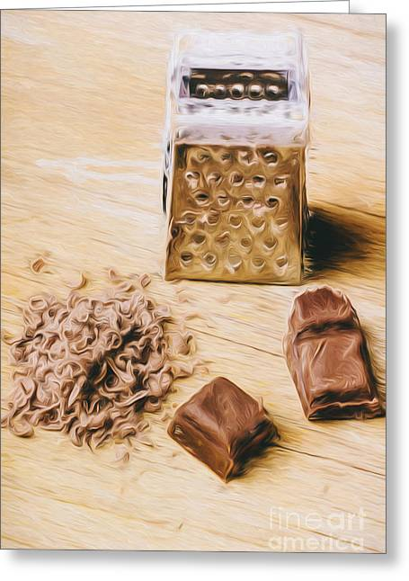 Shredded Chocolate Flakes Fine Art Drawing Greeting Card