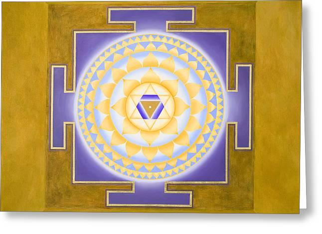 Shri Saraswati Yantra Greeting Card by Piitaa - Sacred Art