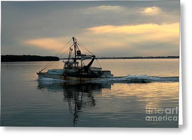 Shrimp Boat At Sunset Greeting Card