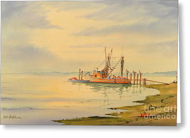 Shrimp Boat Sunset Greeting Card by Bill Holkham
