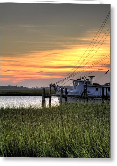 Shrimp Boat Sunset Greeting Card by Dustin K Ryan