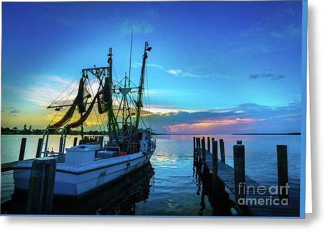 Shrimp Boat Sunset Greeting Card