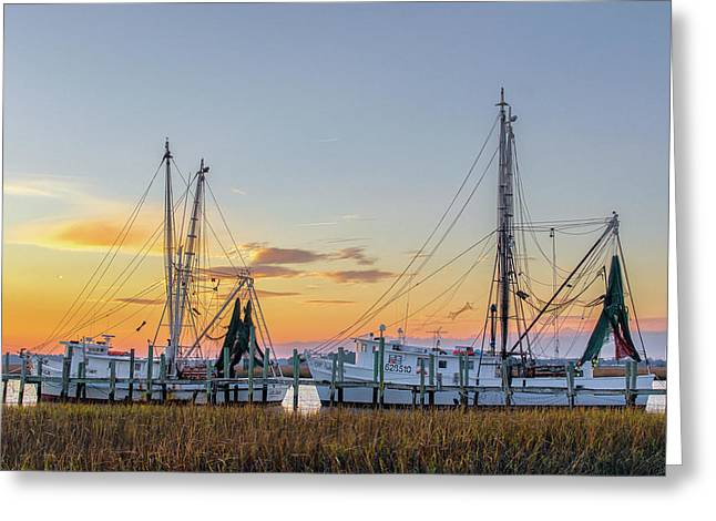 Docked Boats Greeting Cards - Shrimp Boats Greeting Card by Drew Castelhano