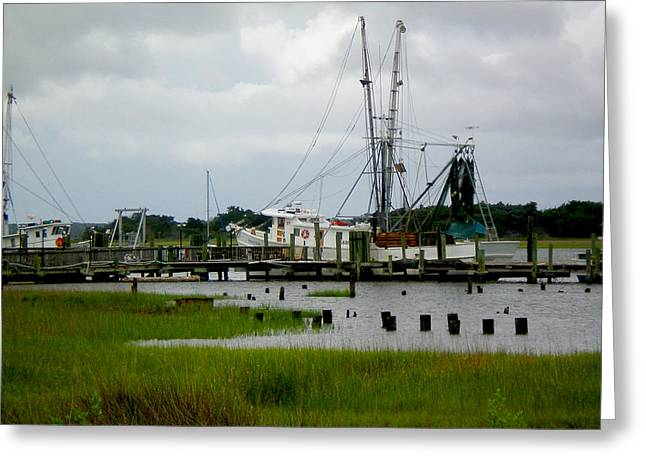 Shrimp Boats Greeting Card by Jeffrey Zipay